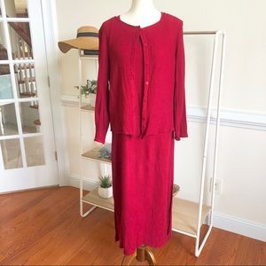 Eileen Fisher red waffle knit dress and cardigan